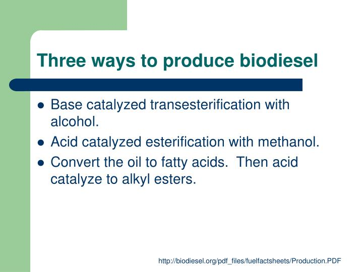 Three ways to produce biodiesel