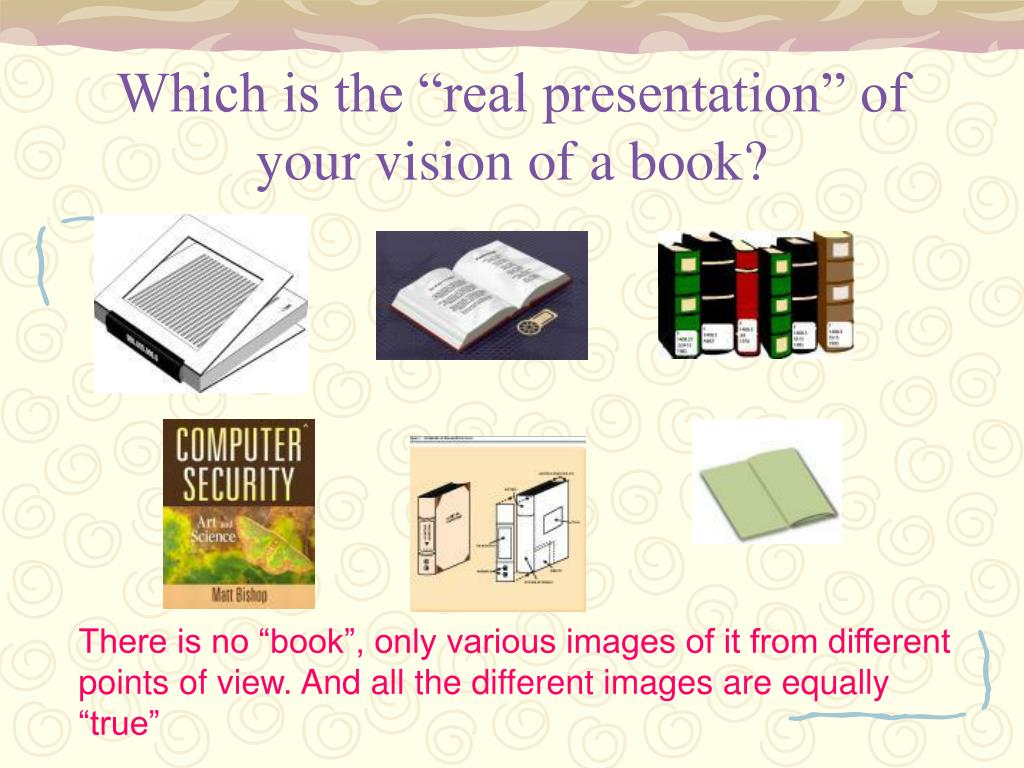 """Which is the """"real presentation"""" of your vision of a book?"""