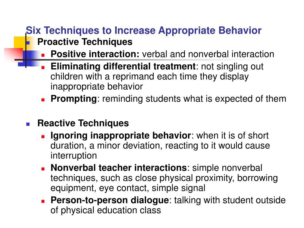 Six Techniques to Increase Appropriate Behavior