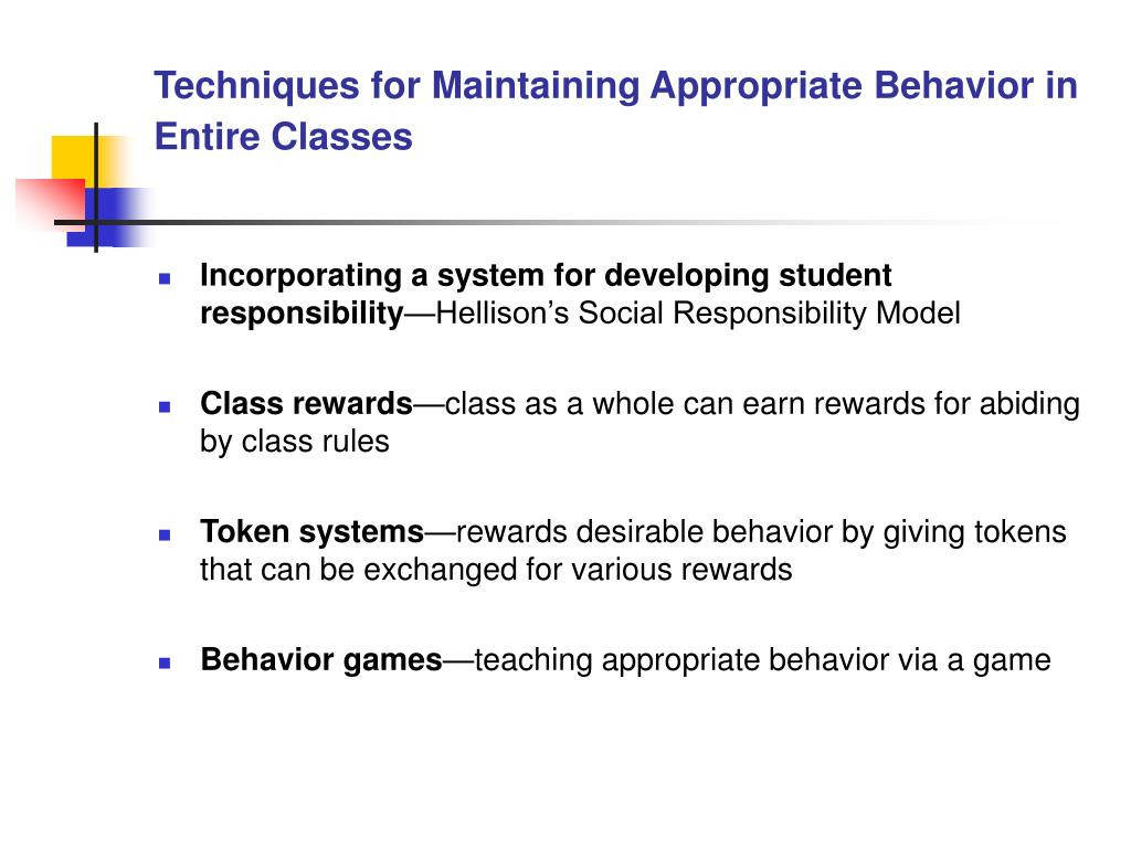 Techniques for Maintaining Appropriate Behavior in Entire Classes