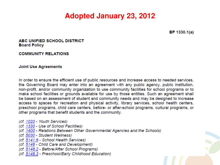 Adopted January 23, 2012