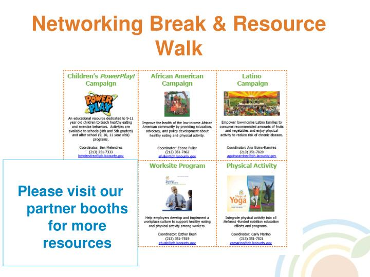 Networking Break & Resource Walk
