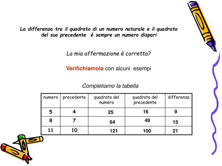 La differenza tra il quadrato di un numero naturale e il quadrato del suo precedente  è sempre un numero dispari