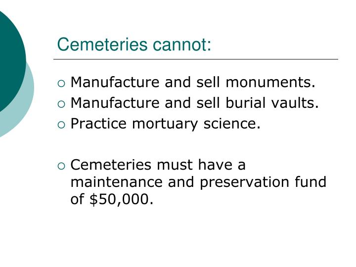 Cemeteries cannot: