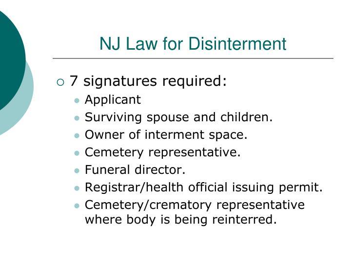 NJ Law for Disinterment