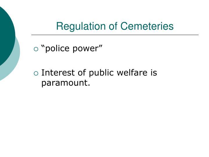 Regulation of Cemeteries