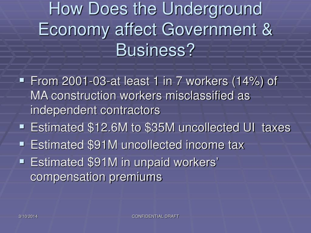 How Does the Underground Economy affect Government & Business?
