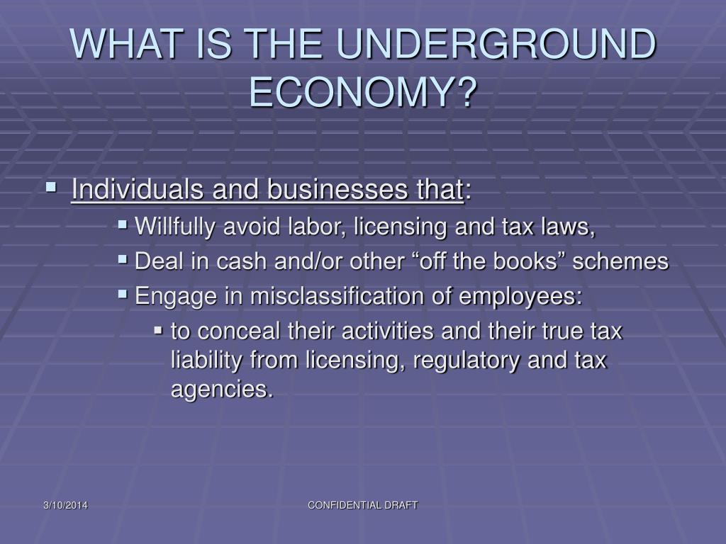 WHAT IS THE UNDERGROUND ECONOMY?