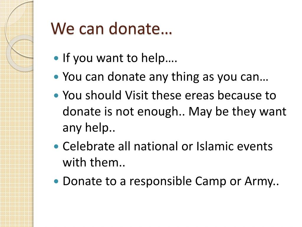 We can donate…