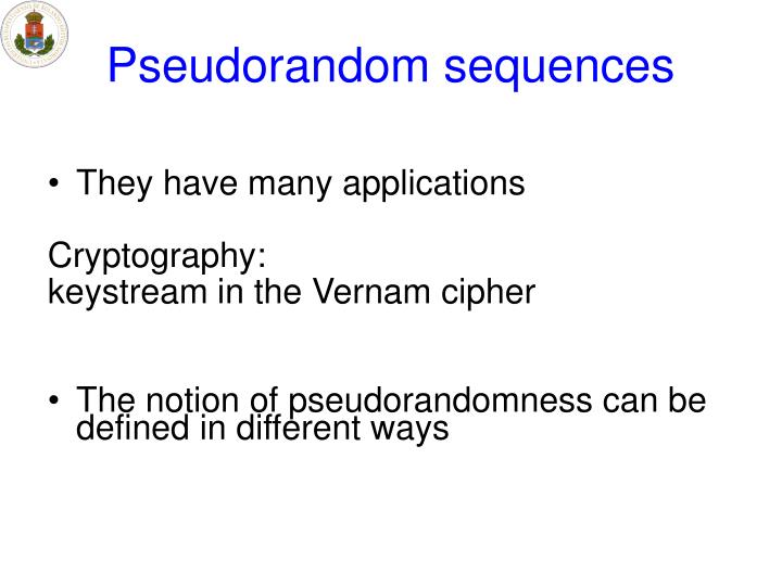Pseudorandom sequences