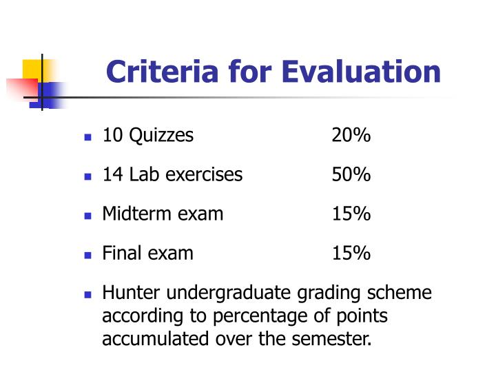 Criteria for Evaluation