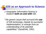 gis as an approach to science