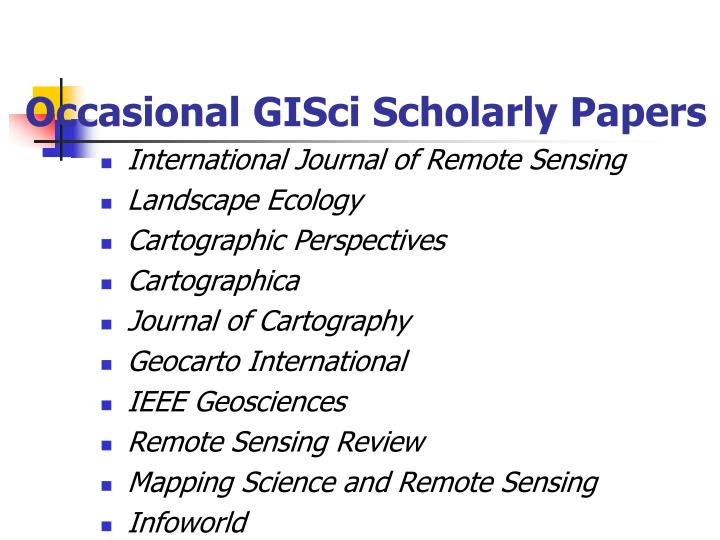 Occasional GISci Scholarly Papers
