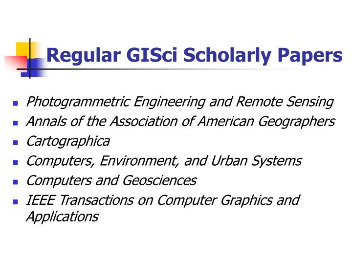 Regular GISci Scholarly Papers