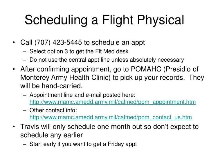 Scheduling a Flight Physical