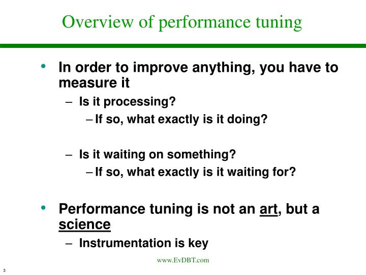 Overview of performance tuning