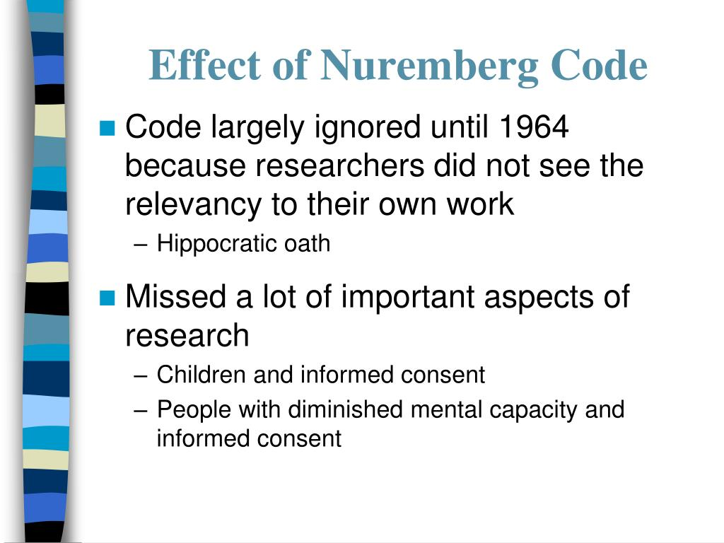 Effect of Nuremberg Code