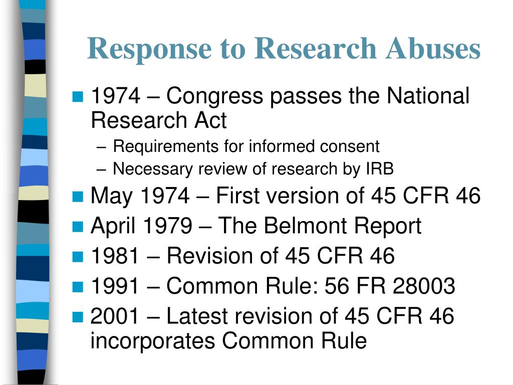 Response to Research Abuses