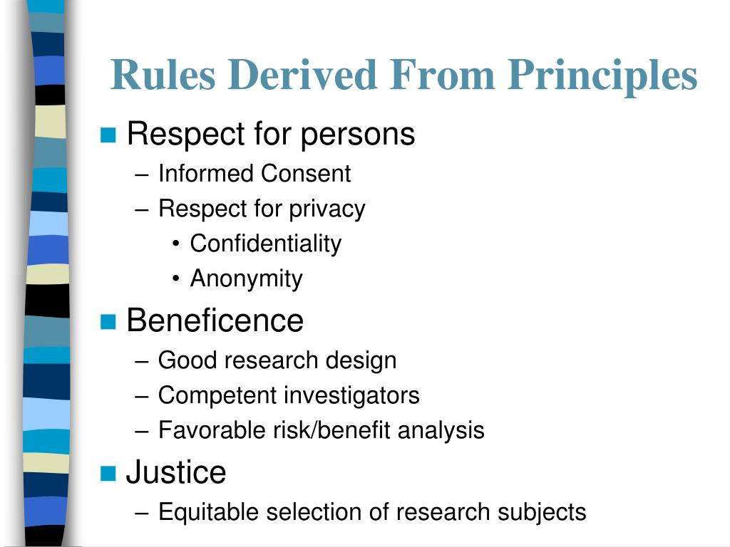 Rules Derived From Principles