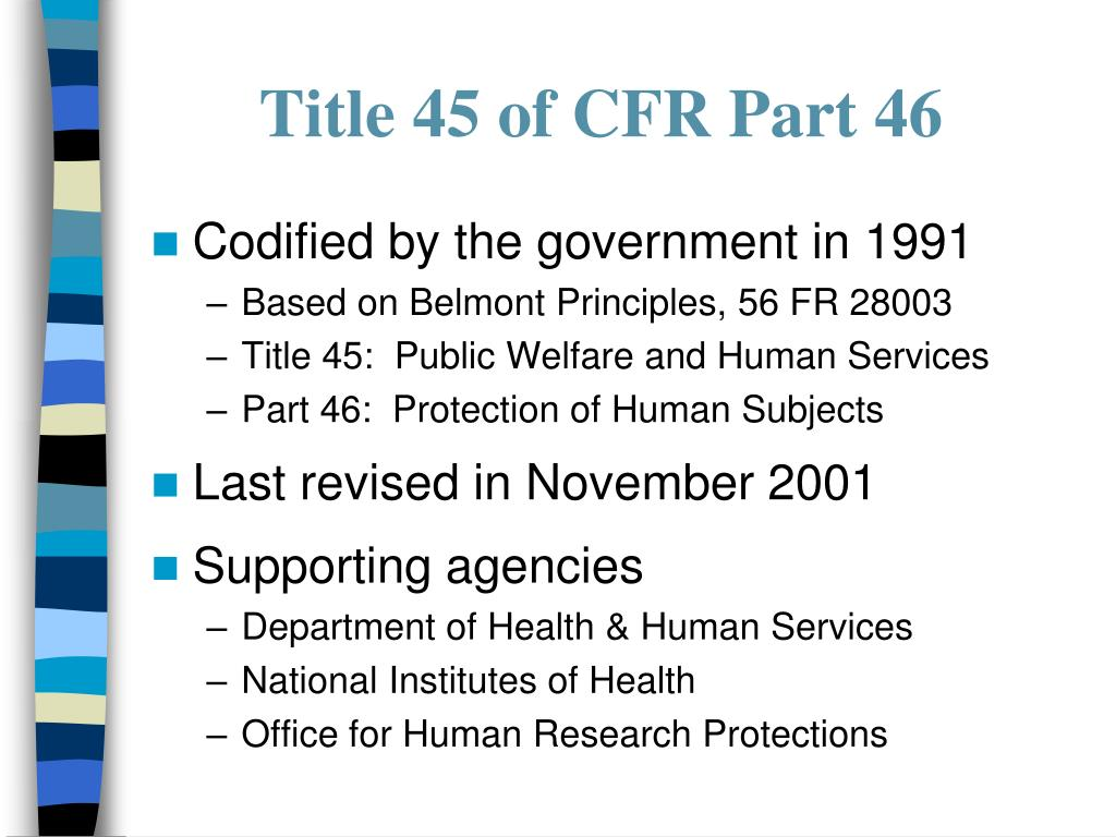 Title 45 of CFR Part 46