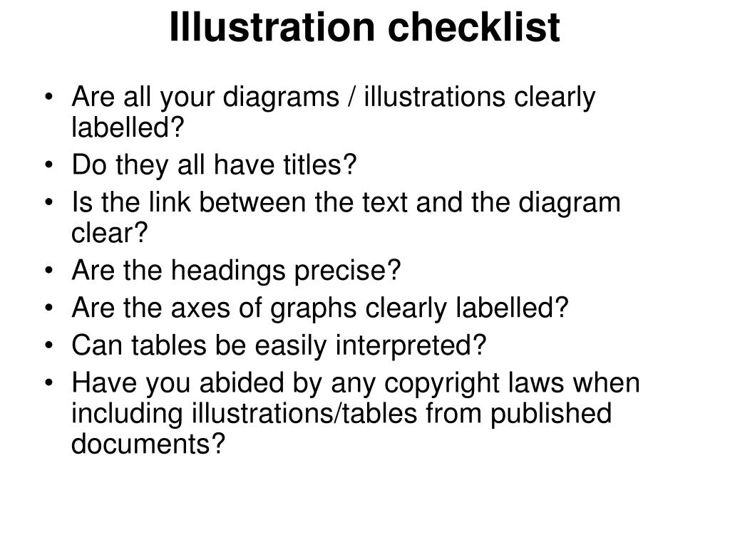 Illustration checklist