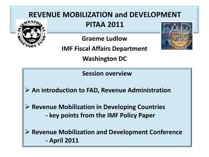 Revenue mobilization and development pitaa 2011