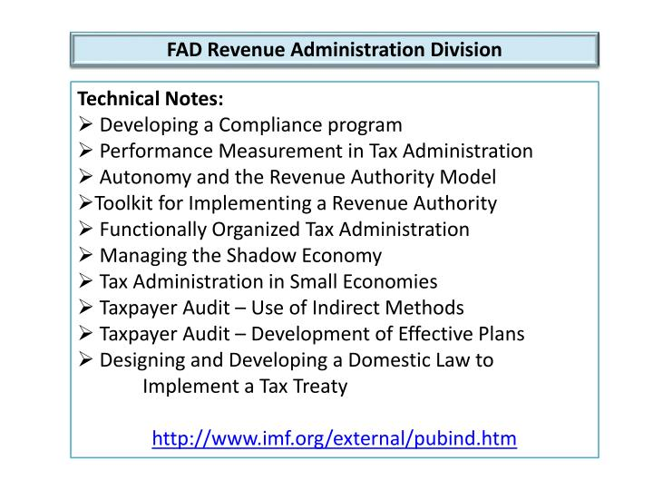 FAD Revenue Administration Division