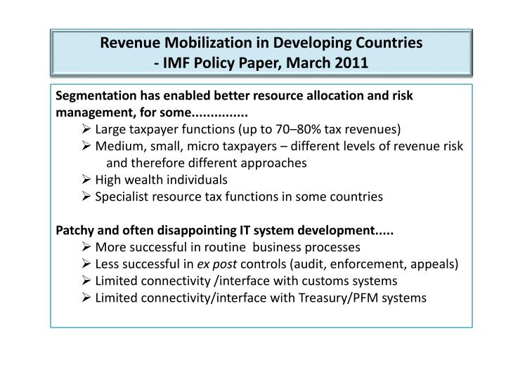 Revenue Mobilization in Developing Countries