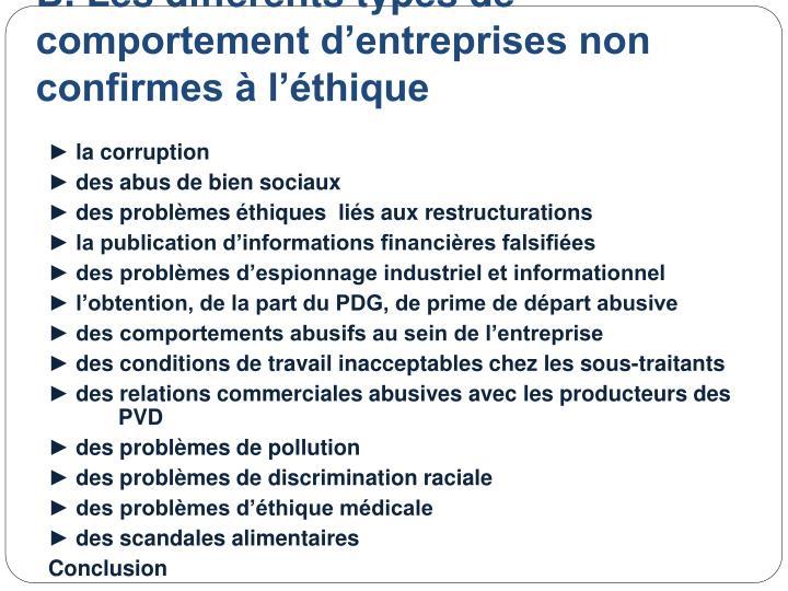 B. Les différents types de comportement d'entreprises non confirmes à l'éthique