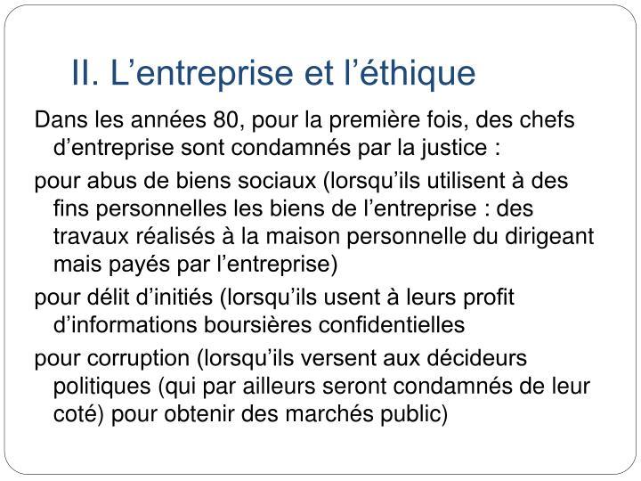 II. L'entreprise et l'éthique