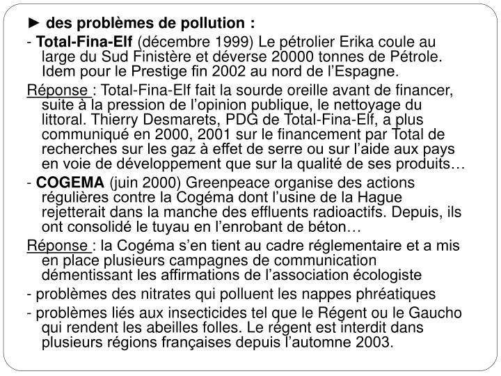 ► des problèmes de pollution: