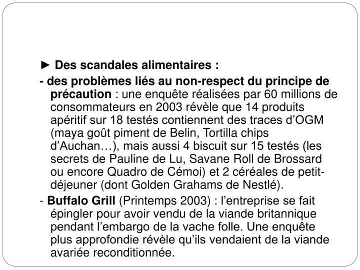 ► Des scandales alimentaires: