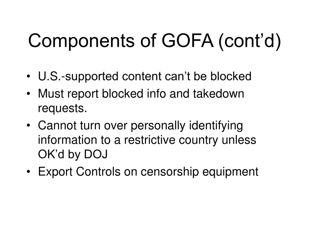 Components of GOFA (cont'd)