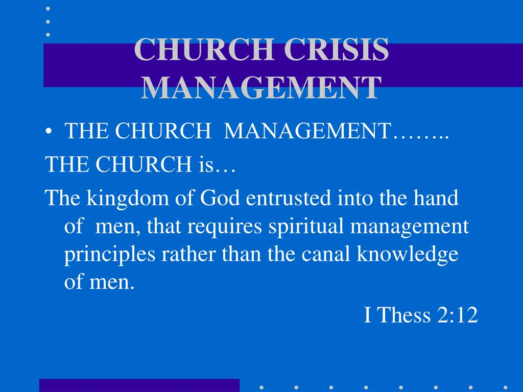 CHURCH CRISIS MANAGEMENT