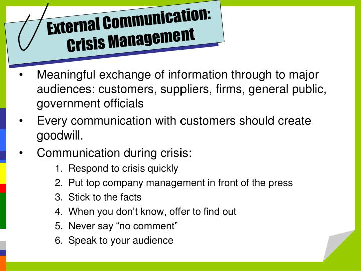 External Communication: Crisis Management