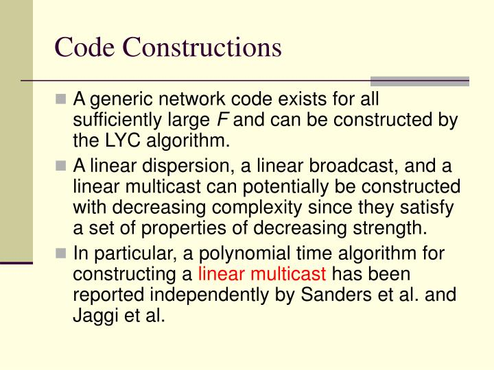 Code Constructions