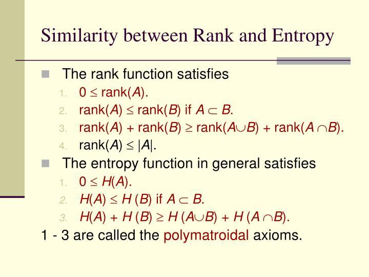 Similarity between Rank and Entropy