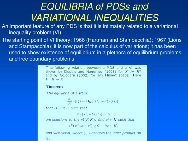 EQUILIBRIA of PDSs and VARIATIONAL INEQUALITIES