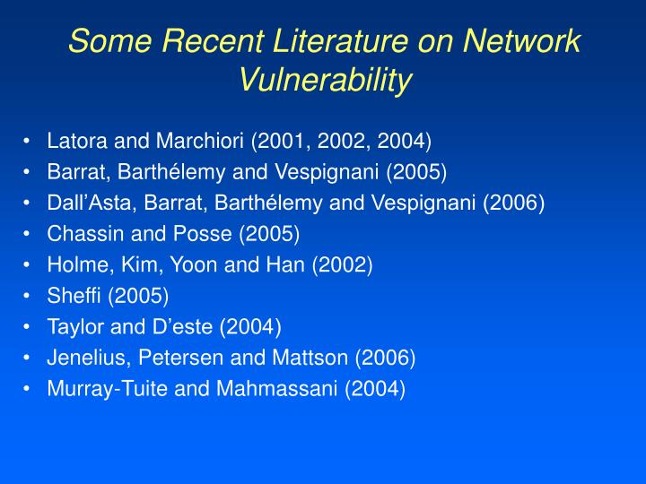 Some Recent Literature on Network Vulnerability