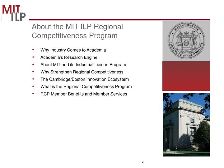 About the mit ilp regional competitiveness program