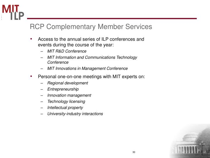 RCP Complementary Member Services