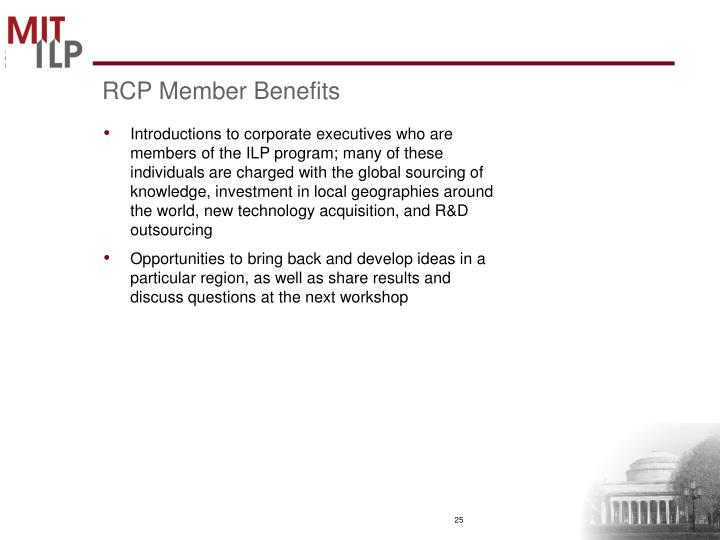 RCP Member Benefits