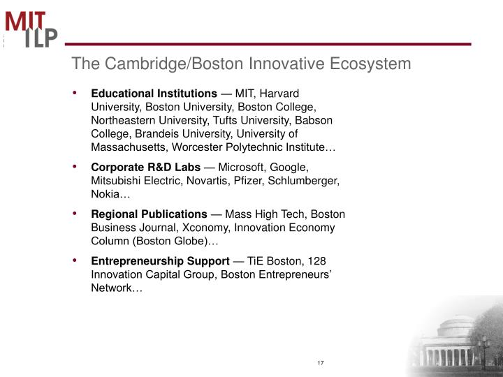 The Cambridge/Boston Innovative Ecosystem