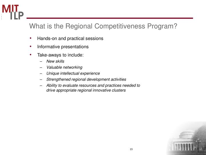What is the Regional Competitiveness Program?
