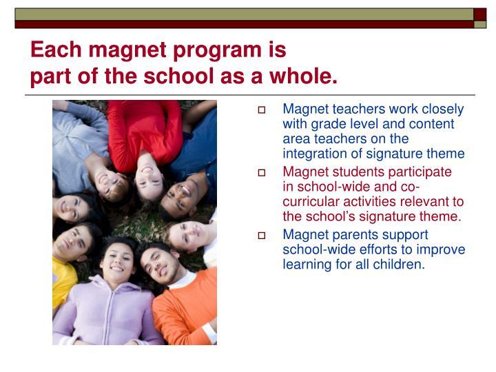 Each magnet program is