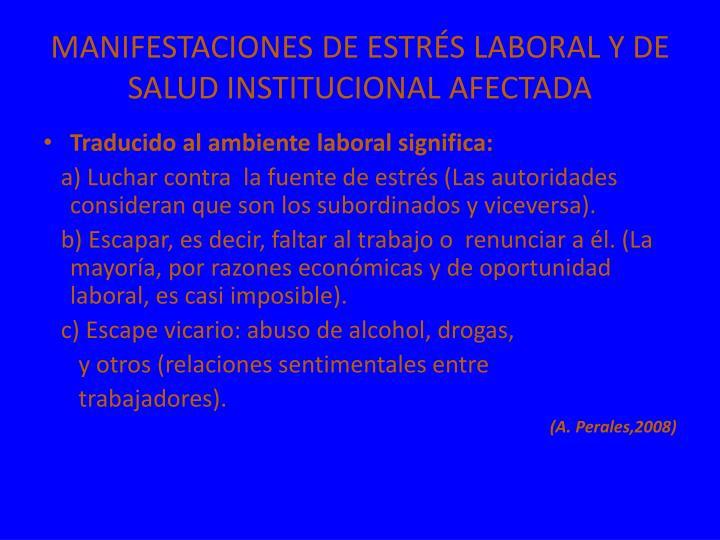 MANIFESTACIONES DE ESTRÉS LABORAL Y DE SALUD INSTITUCIONAL AFECTADA