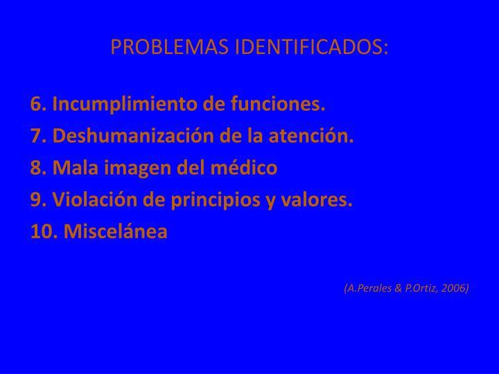 PROBLEMAS IDENTIFICADOS: