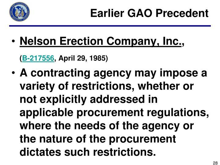 Earlier GAO Precedent