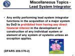 miscellaneous topics lead system integrator1
