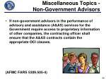 miscellaneous topics non government advisors